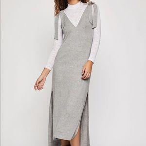 Shoulder Tie High-Low Dress